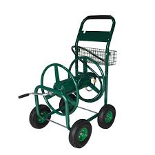 Hose Reel Solution For Yard And Garden Outdoor Faucet Extension Hampton Bay 4 Wheel Hose Reel Cart Mrh250hb The Home Depot