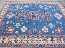 Organic Wool Rug Royal Blue Hand Knotted Rug 10x12 Kazak Carpet Wool On Cotton