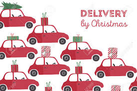 spesial christmas delivery vector illustration small red car