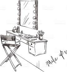 make up vanity table and folding chair illustration stock vector