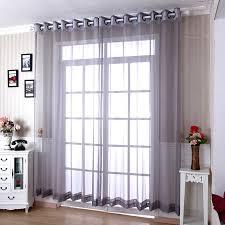 Grey Sheer Curtains Living Room Yarn Modern Grey Sheer Curtains