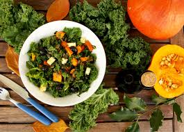 kale pumpkin salad with feta and pesto dressing u2022 happy kitchen rocks