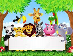 safari cartoon animal cartoon and blank sign royalty free cliparts vectors and