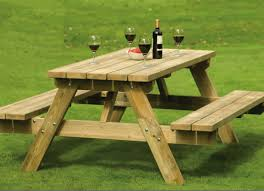 wooden table and bench 24 picnic table designs plans and ideas inspirationseek com