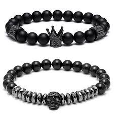 bracelet skull beads images Special titanium bracelet set black stainless steel skull and jpg