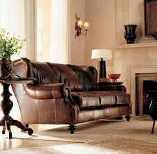 Leather Living Room Chairs Decor Brown Leather Sectional Sofa With Nailhead Trim And Wood
