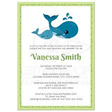 whale baby shower invitation lime green and blue a7