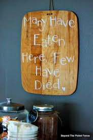 simple cutting board with a sense of humor beyond the picket