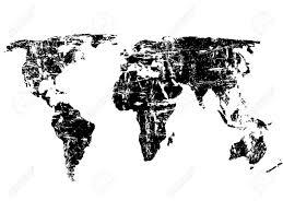 World Map Silhouette Black Grunge World Map On A White Background Vector Illustration