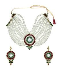 metal necklace set images Buy zaveri pearls off white non precious metal choker necklace set jpg