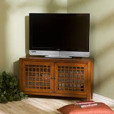 Corner Tv Cabinets For Flat Screens With Doors by Amazon Com Narita Corner Media Stand Walnut Kitchen U0026 Dining
