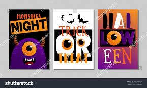 vector illustrations black monster halloween poster stock vector