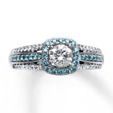 light blue rings images Jared diamond engagement ring 7 8 cttw light blue white 14k gold jpg