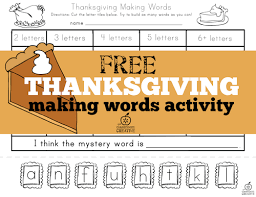 free thanksgiving words activity
