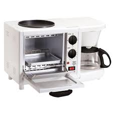 machine a cuisiner elite white americana 4 cup 3 in 1 coffee maker with toaster oven