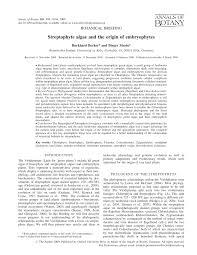 streptophyte algae and the origin of embryophytes pdf download