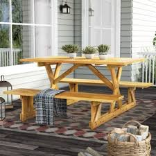 rustic outdoor picnic tables rustic picnic tables you ll love wayfair