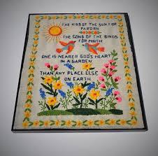 vintage needlepoint 11 x 14 god s garden poem framed etsy