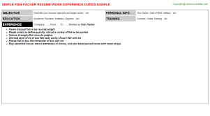 Packer Job Description For Resume by Fish Packer Resume Sample