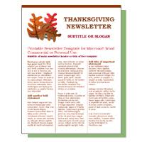 thanksgiving newsletter templates happy thanksgiving