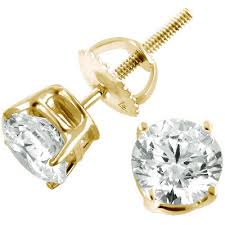 gold stud earings 2 carat diamond stud earrings 14k yellow gold