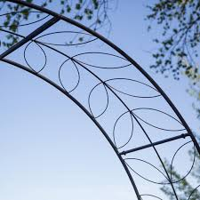 wedding arch 7 u0027 black iron garden arbor trellis metal tunnel