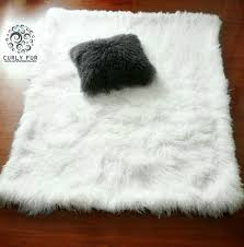 White Fur Cushions Decor Faux Bear Skin Rug With Head Fur Rug White Sheepskin Rug