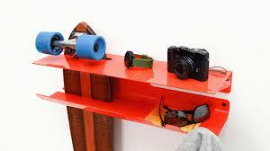 Skateboard Shelf A Storage Smart Wall Rack For Stowing Skateboards Co Design