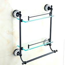 Bronze Bathroom Shelves Rubbed Bronze Bathroom Shelf Black Glass Shelves Copper Rack