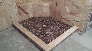 bathroom treatment wood riverrock tile frameless