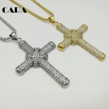 steel cross necklace images Cara new gold color 316l stainless steel cross necklace bling jpg