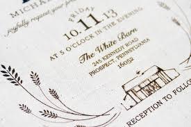 barn wedding invitations paul s rustic screen printed fabric wedding invitations