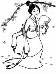 fa mulan classic chinese dress coloring download