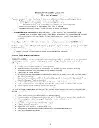 Employment Resume Template 1 Financial Statement Requirements Renewing A License
