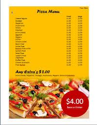 pizza menu template microsoft word templates