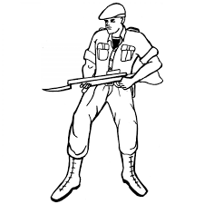 military army soldier with bayonet colouring sheet to print for boy