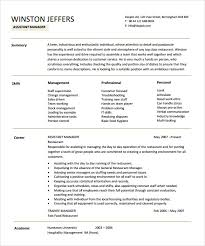assistant manager resumes assistant manager restaurant resume cover letter templates
