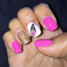 french tip with pink powder and glitter design done by hailey yelp