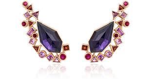 amethyst earrings lyst stephen webster gold struck amethyst earrings