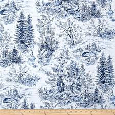 Forest Home Decor by Woodland Forest Forest Scenic Toile White Blue Discount Designer