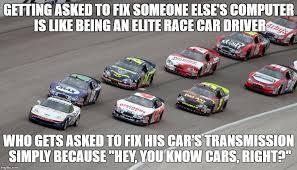 Race Car Meme - 22 useful software development analogies meme version