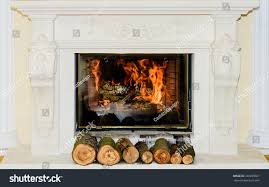 classic fireplace white ornaments stock photo 330209861