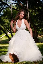 cascading ruffled organza gorgeous ball gown wedding dress halter