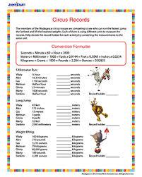 circus records u2013 printable fifth grade measurement worksheet