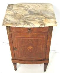 french style marquetry marble top nightstand