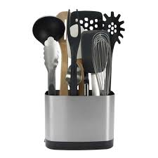 kitchen concrete utensil holder in white for kitchen storage ideas