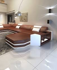 Modern Sectional Leather Sofas Modern L Shaped Sofa Dallas With Led Lights