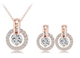 plated rose gold necklace images Rose gold necklace and earring set jpg