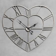 large antique silver metal heart shaped skeleton clock 73 x 73cm