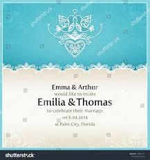 Royal Wedding Invitation Card Blue Wedding Invitation Design Template Doves Stock Vector